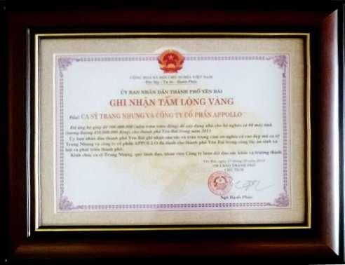 Ghi nhận tấm lòng vàng - Ca Sĩ Trang Nhung & Công Ty Cổ Phần Appollo